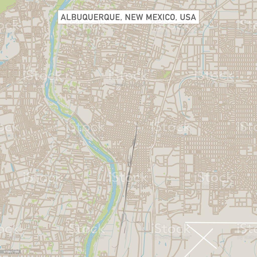 Albuquerque New Mexico Us City Street Map Stock Vector Art & More ...
