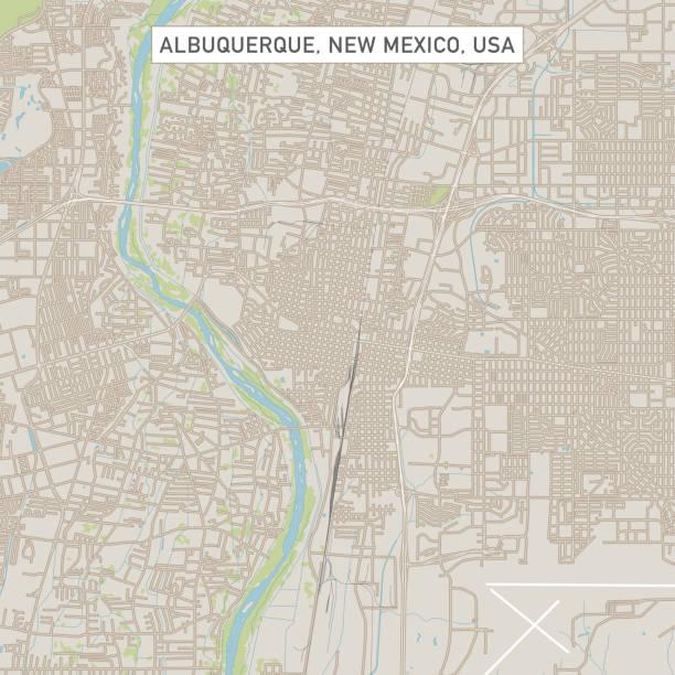 Albuquerque New Mexico US City Street Map vector art illustration
