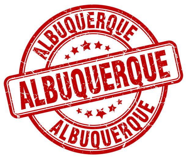Albuquerque red grunge round vintage rubber stamp vector art illustration