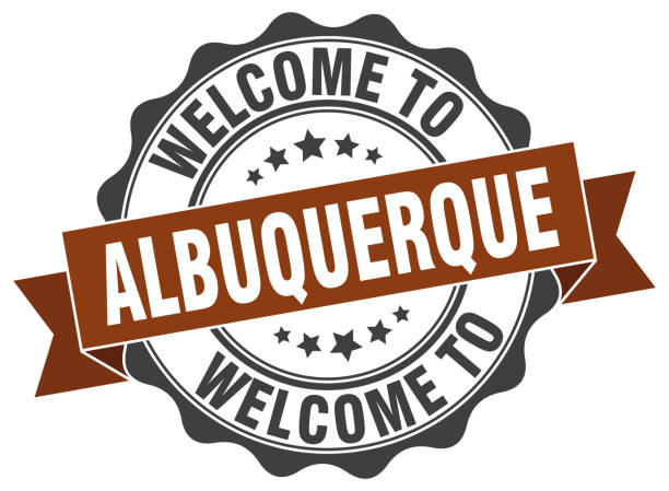 Albuquerque round ribbon seal vector art illustration