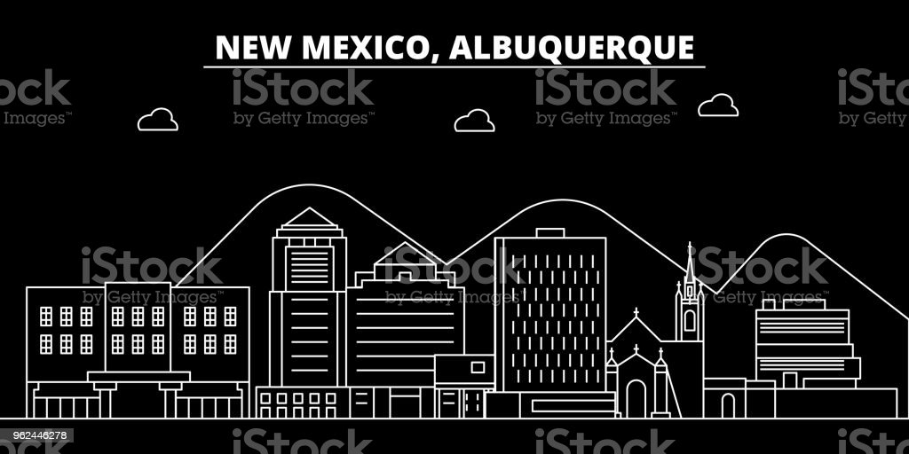 Albuquerque silhouette skyline. USA - Albuquerque vector city, american linear architecture, buildings. Albuquerque line travel illustration, landmarks. USA flat icon, american outline design banner vector art illustration