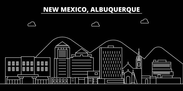 Albuquerque silhouette skyline. USA - Albuquerque vector city, american linear architecture, buildings. Albuquerque line travel illustration, landmarks. USA flat icon, american outline design banner vector art illustration