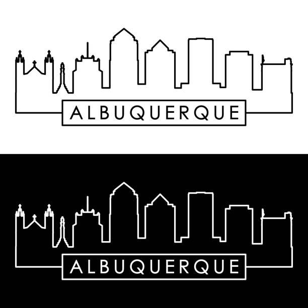Albuquerque skyline. Linear style. Editable vector file. vector art illustration