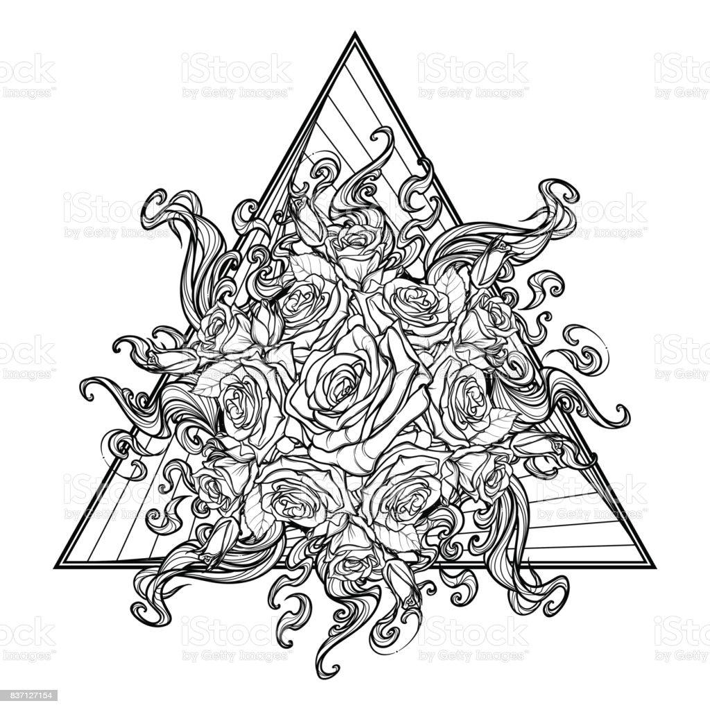 錬金術の要素の火のサインバラのガーランドと太陽フレアと上向きの三角形