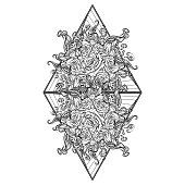 Alchemic Element of Fire sign. Triangle pointing up with rose garland and sun flares. Concept design for the tattoo, colouring book or postcard.