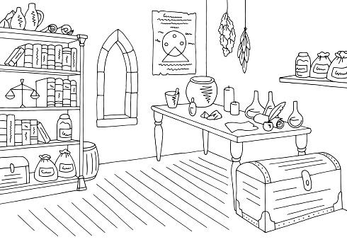 Alchemical laboratory graphic black white interior sketch illustration vector