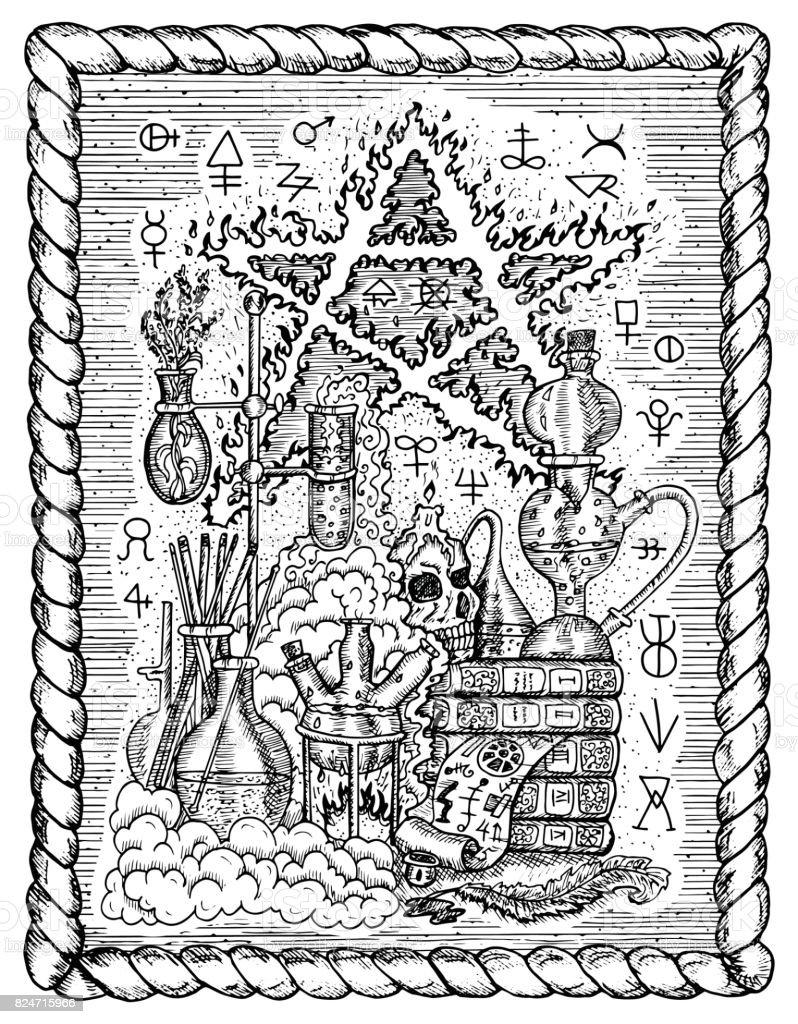 Alchemistische Symbole Schädel Pentagramm Und Laborausrüstung Im ...