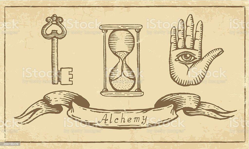 Alchemical símbolos - ilustración de arte vectorial