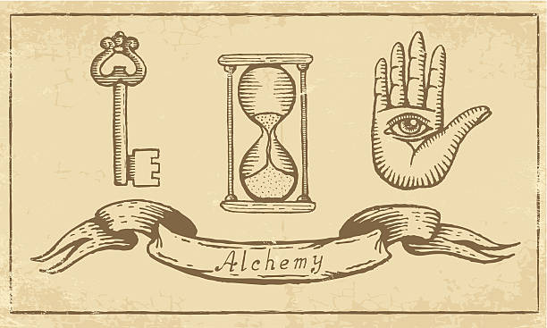 Alchemical Symbols Magic alchemical Symbols in old yellow paper alchemy stock illustrations