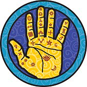 Vector illustration of a hand covered with alchemist figures.