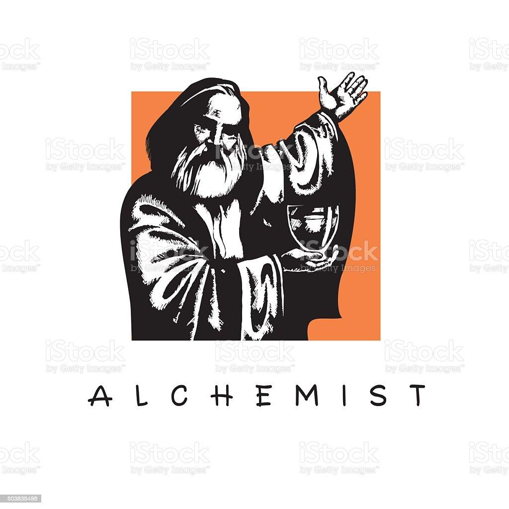 Alchemist. Old man with a beard. vector art illustration