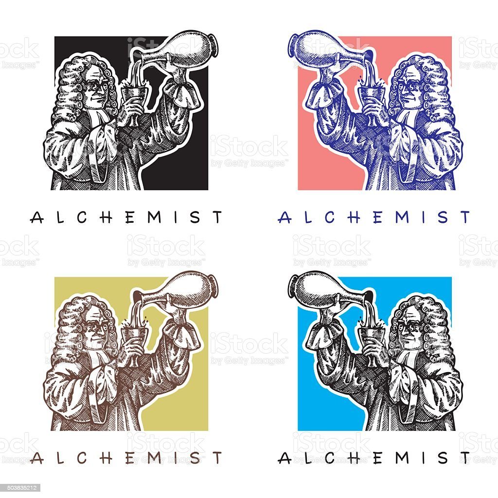 Alchemist with long wig and glasses. vector art illustration