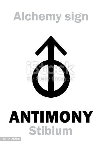 "istock Alchemy Alphabet: ANTIMONY (Stibium), one of mundane stuffs, ""metal of earth"", figur.: Free Spirit of human; eq.: mesdemet, sürmä, сурьма: 1) Antimony ore; 2) Regulus of Antimony (pure): formula=[St]. 1312350587"