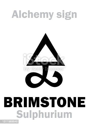istock Alchemy Alphabet: BRIMSTONE / SULFUR (Sulphur, Sulphurium), one of three primes — dry/masculine source, Philosoper's Sulfur; contains alchemical «Phlogiston». Schwefel, soufre. Chemical formula=[S]. 1311969540