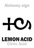 istock Alchemy Alphabet: LEMON ACID (Acidum citreorum), acid of citrus fruits (lemons & limes). Citric Acid: Chemical formula=[C₆H₈O₇], [C₃H₅O(COO)₃]. Also: Calcium citrate: Chemical formula=[Ca₃(C₆H₅O₇)₂]. 1319809129