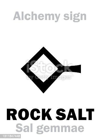 istock Alchemy Alphabet: ROCK SALT (Salgem, Sal gemmae, S.fossile), also: COMMON SALT (Sal commune), Regular table kitchen salt (S.culinarius), Sea Salt (S.marinus). Halite, Sodium chloride: formula=[NaCl]. 1311847448