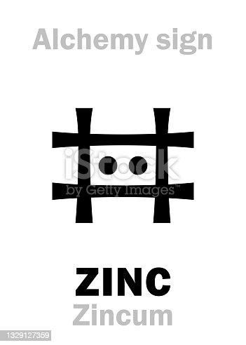 "istock Alchemy Alphabet: ZINC (Zincum), also: Tutia (crude Zinc oxide), Cadmia (ore of Zinc), Lapis Calaminaris (Zinc carbonate), Speltrum; figur.: ""Philosopher's wool"", ""white snow"". Chemical formula=[Zn]. 1329127359"