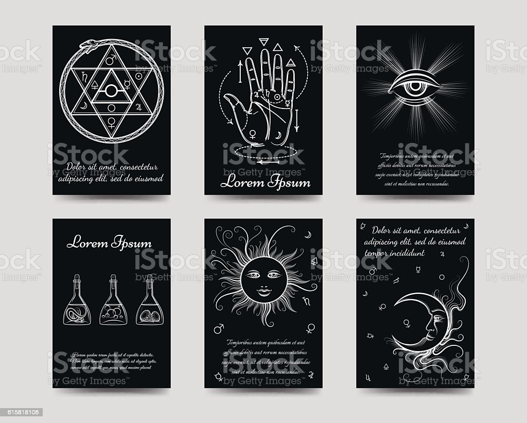 Alchemy and isoteric cards set - Illustration vectorielle