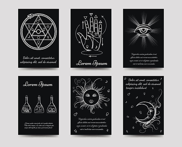 Alchemy and isoteric cards set vector art illustration