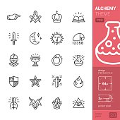 Alchemy and Middle Ages related stroke-style icons pack.