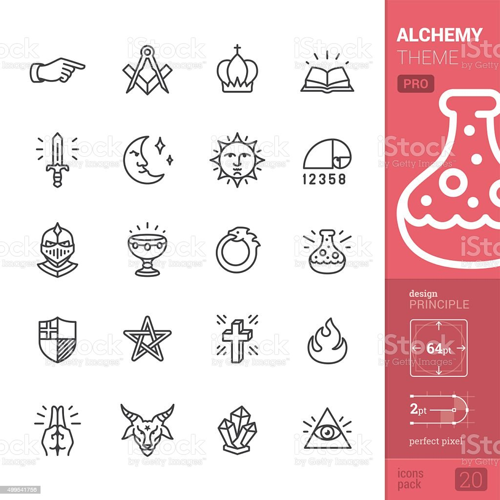 Alchemy and Middle Ages related vector icons - PRO pack vector art illustration