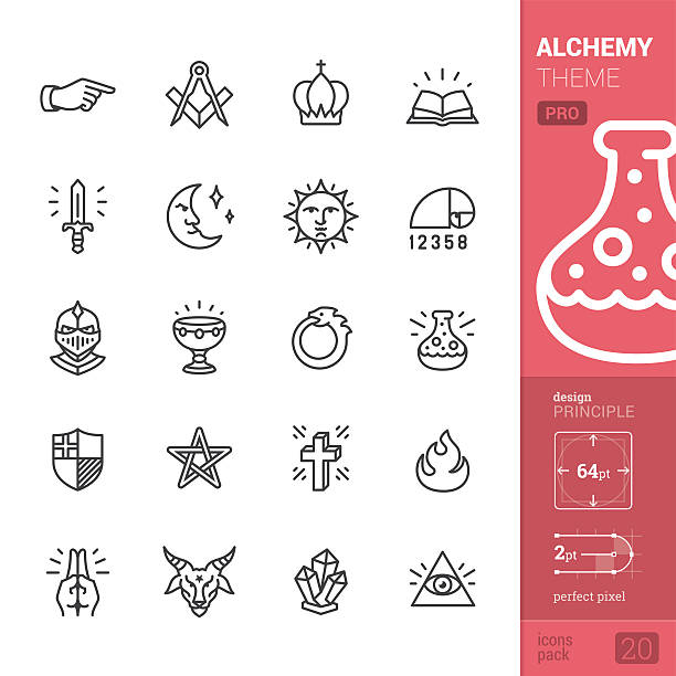 alchemy и middle ages, связанных с векторные иконки-pro pack - freemasons stock illustrations