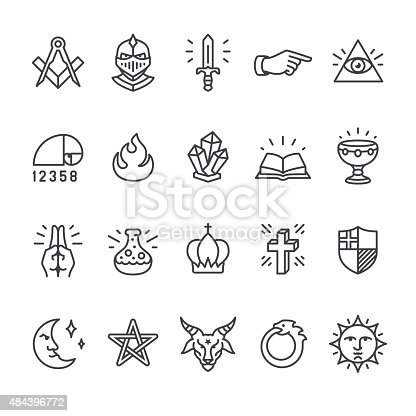 Alchemy and Mystery Cult related vector icons.
