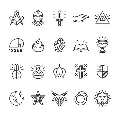 Alchemy and Mystery Cult related vector icons
