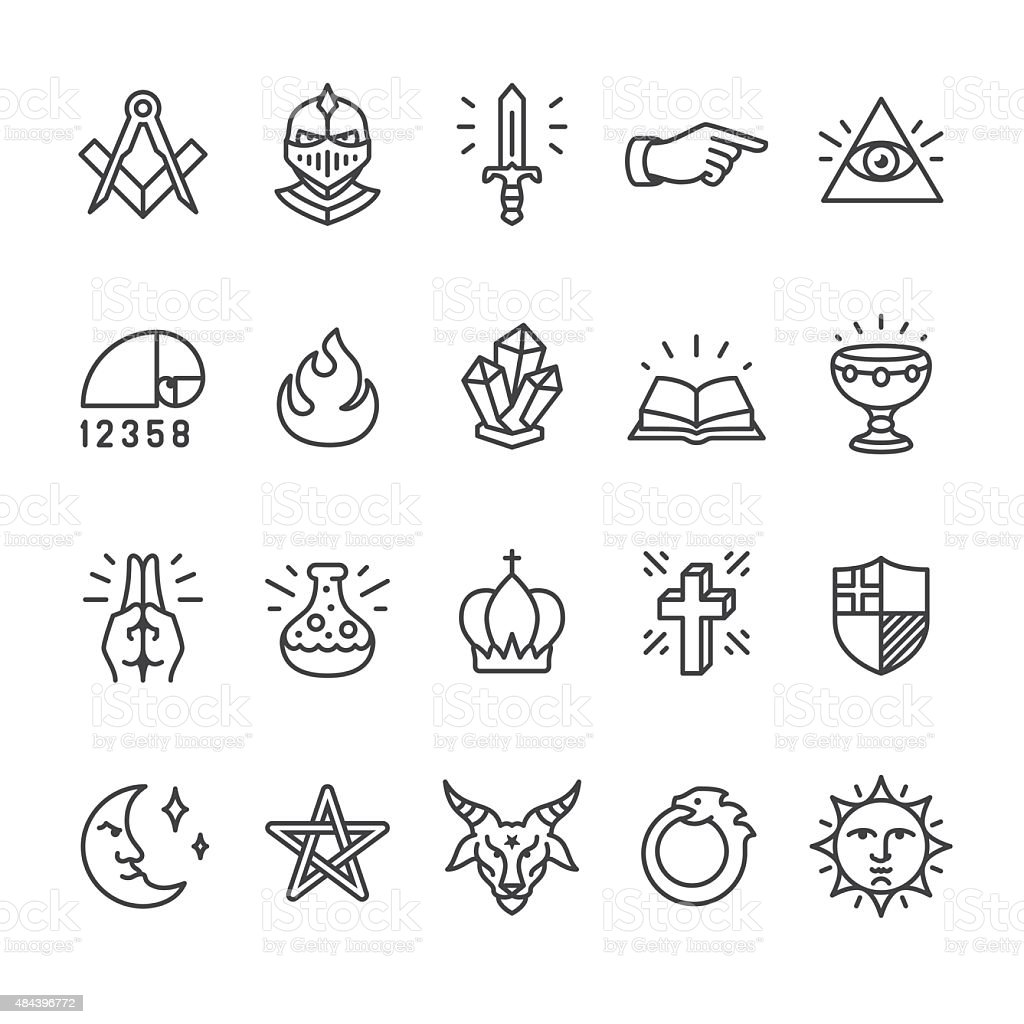Alchemy e o mistério culto relacionados Ícones Vetorizados - ilustração de arte em vetor