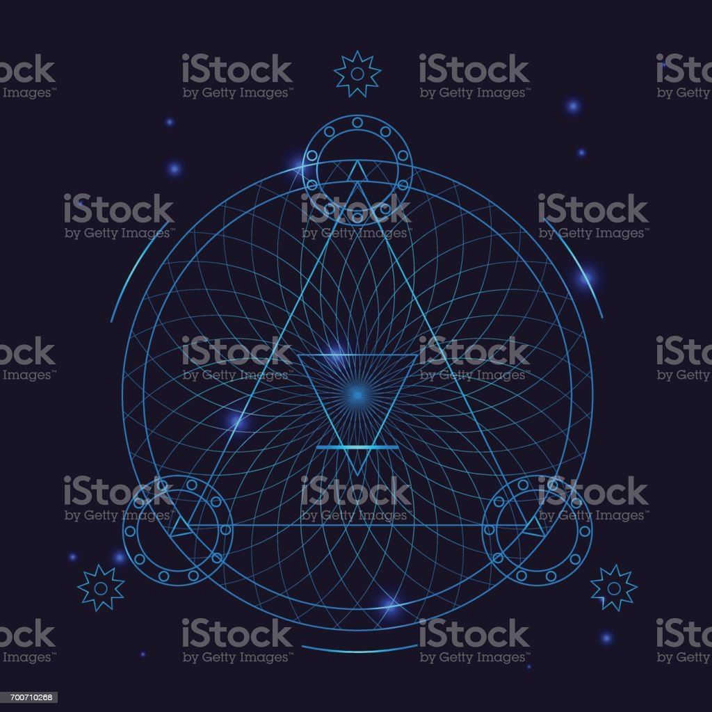 La alquimia geometría símbolo delgada línea. Vector de - ilustración de arte vectorial