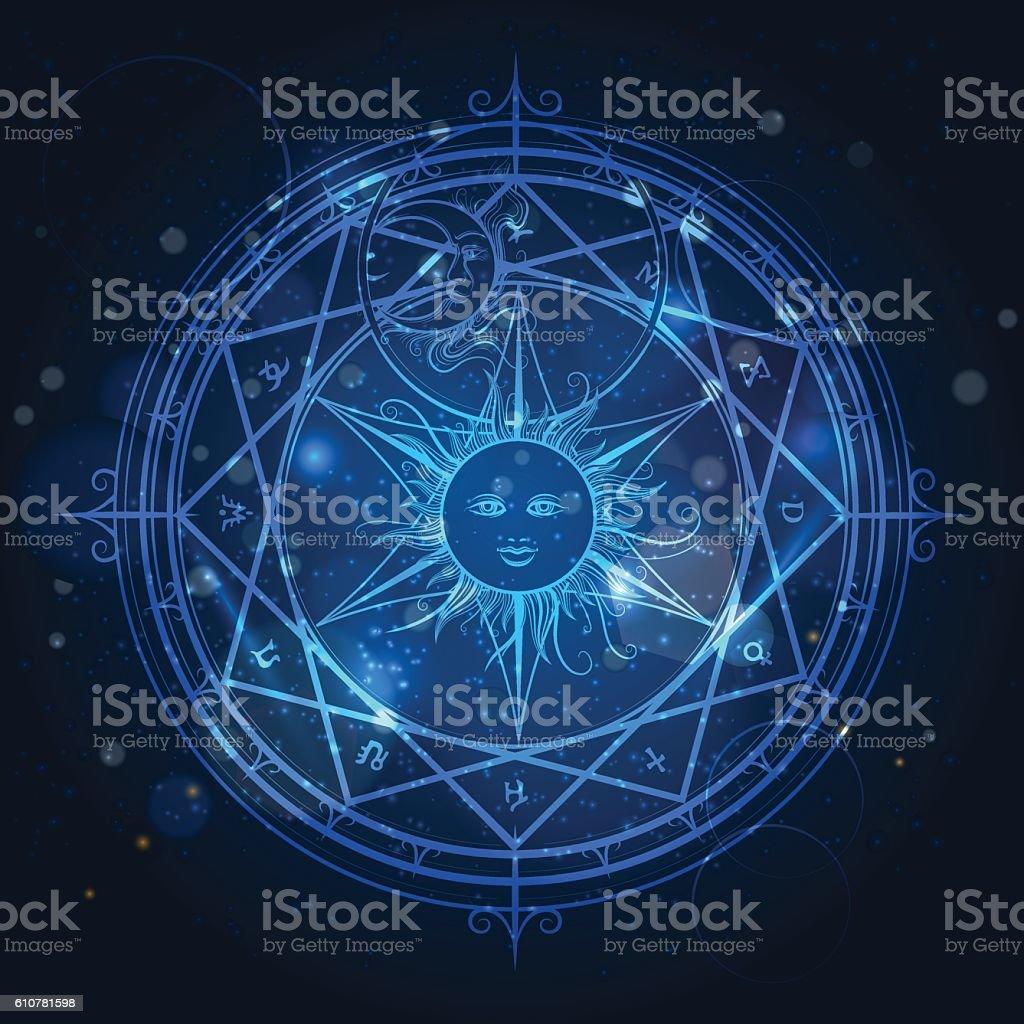 Alchemy magic circle on blue background vector art illustration