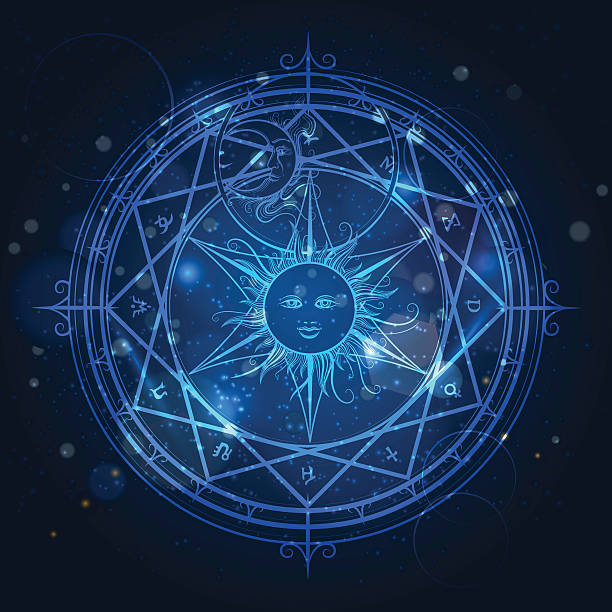 Alchemy magic circle on blue background vector art illustration