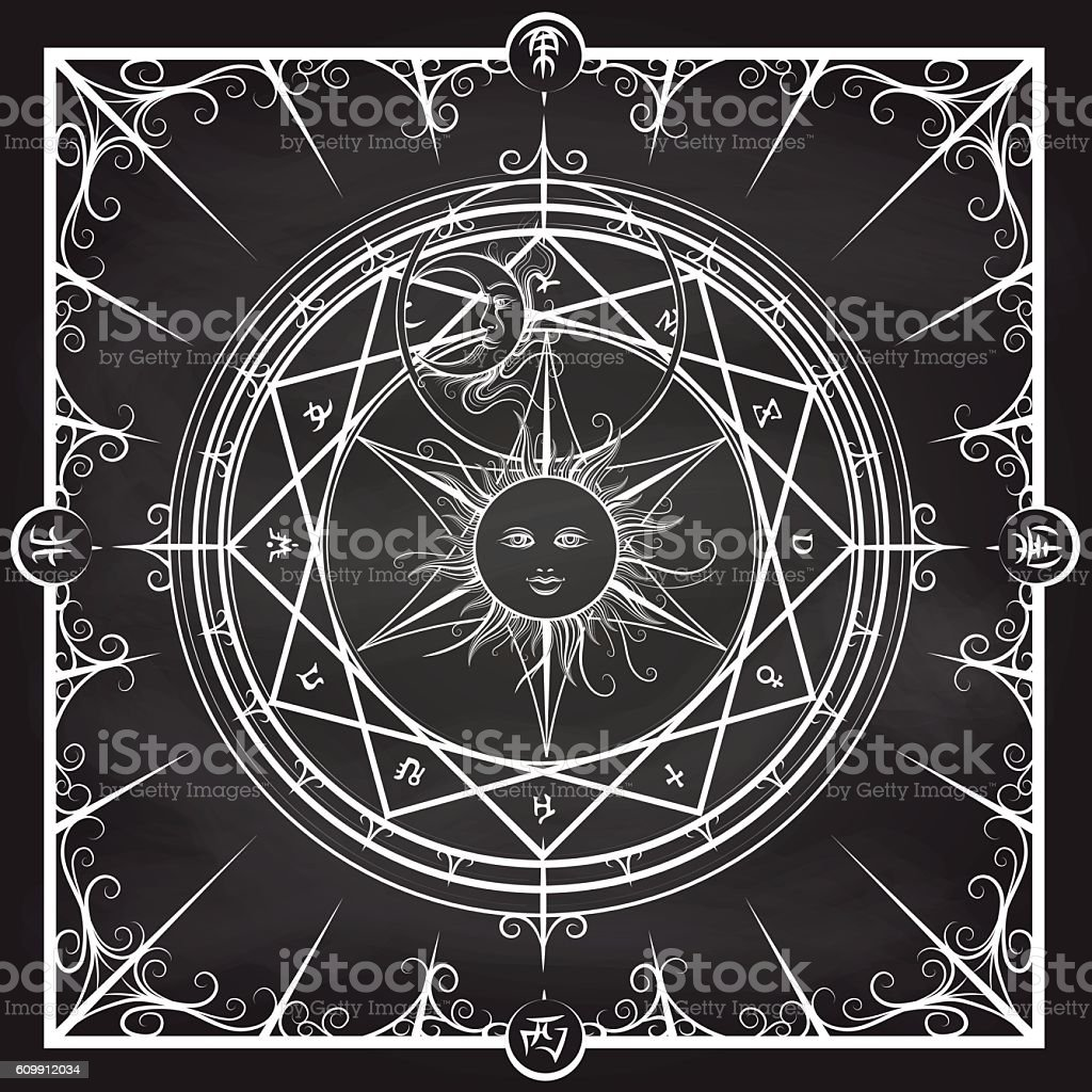 Alchemy magic circle on chalkboard background - Illustration vectorielle