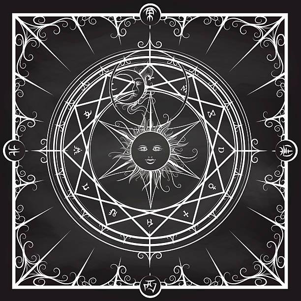 Alchemy magic circle on chalkboard background vector art illustration