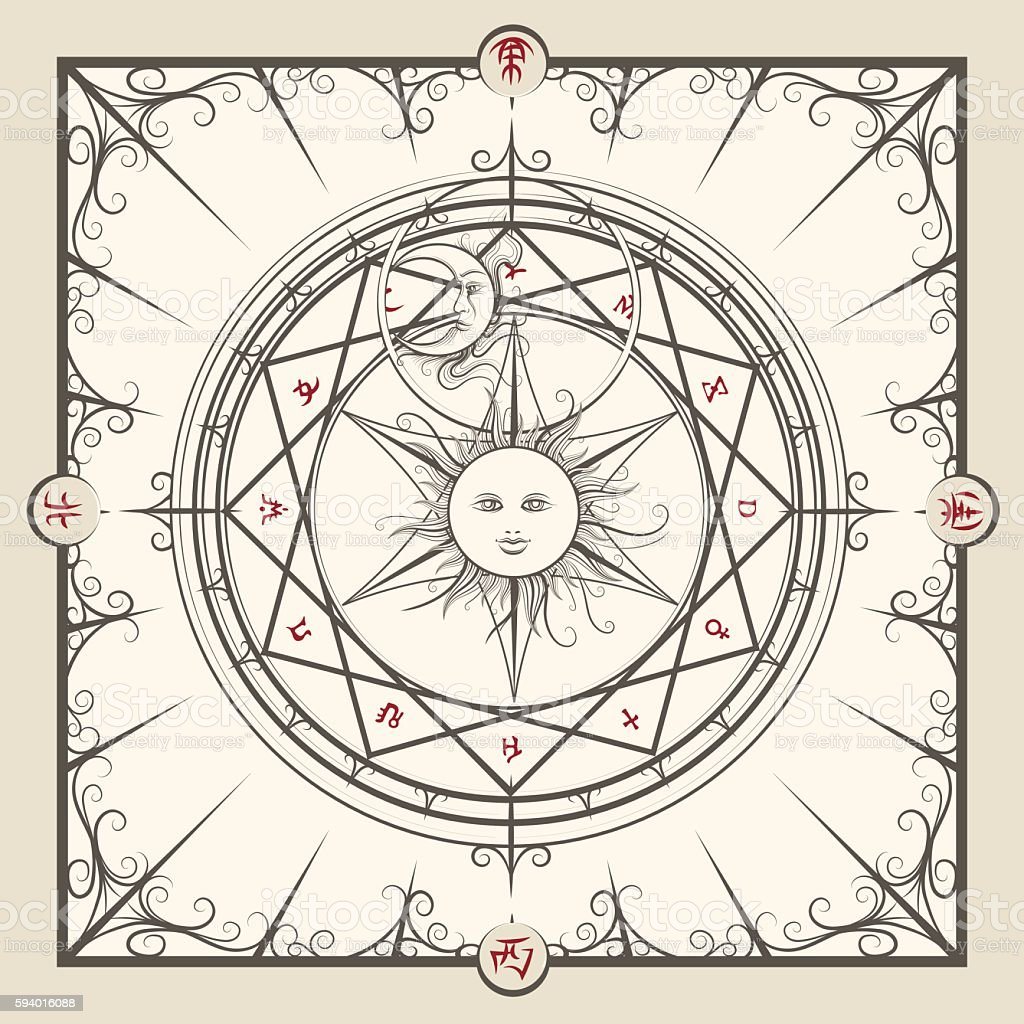 Alchemy magic circle vector art illustration