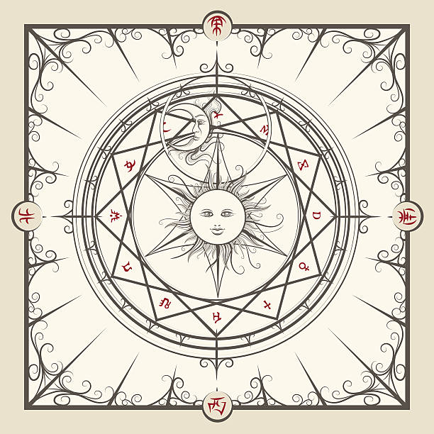 Alchemy magic circle vector art illustration