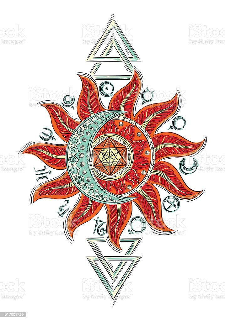 Alchemy magic sign vector art illustration