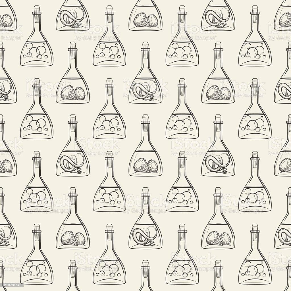 Alchemy seamless pattern with bottles vector art illustration