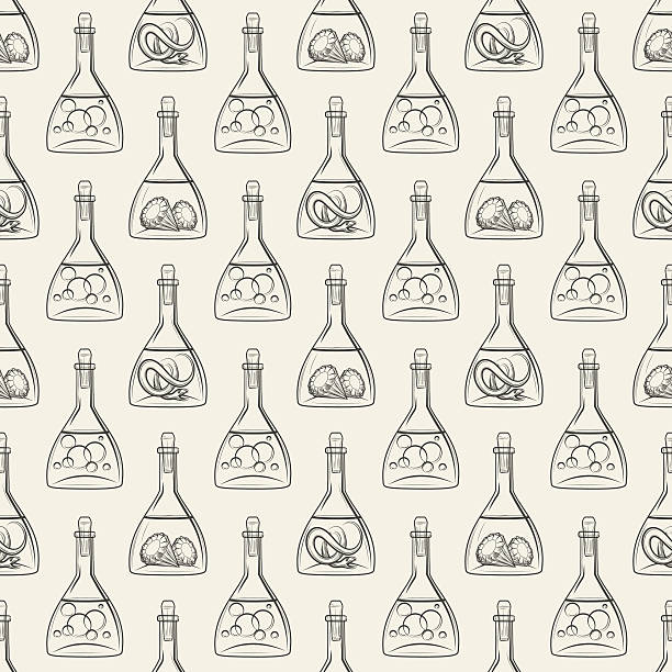 Alchemy seamless pattern with bottles vector art illustration