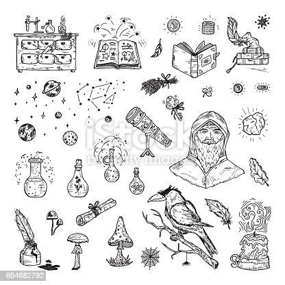 Alchemy Set Hand Drawn Doodle Magic Alchemical Symbols Stock Vector