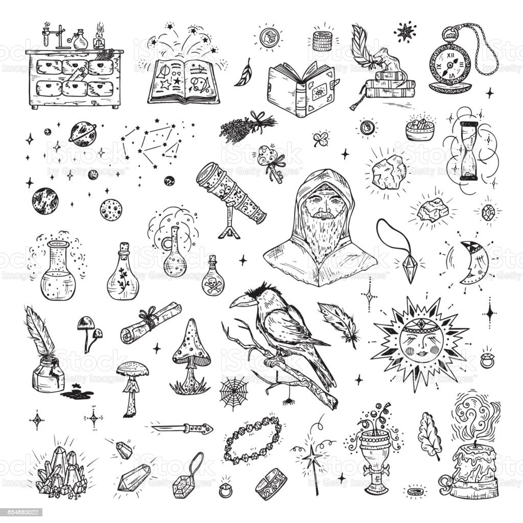 Alchemy set. Hand Drawn Doodle Magic alchemical Symbols. vector art illustration