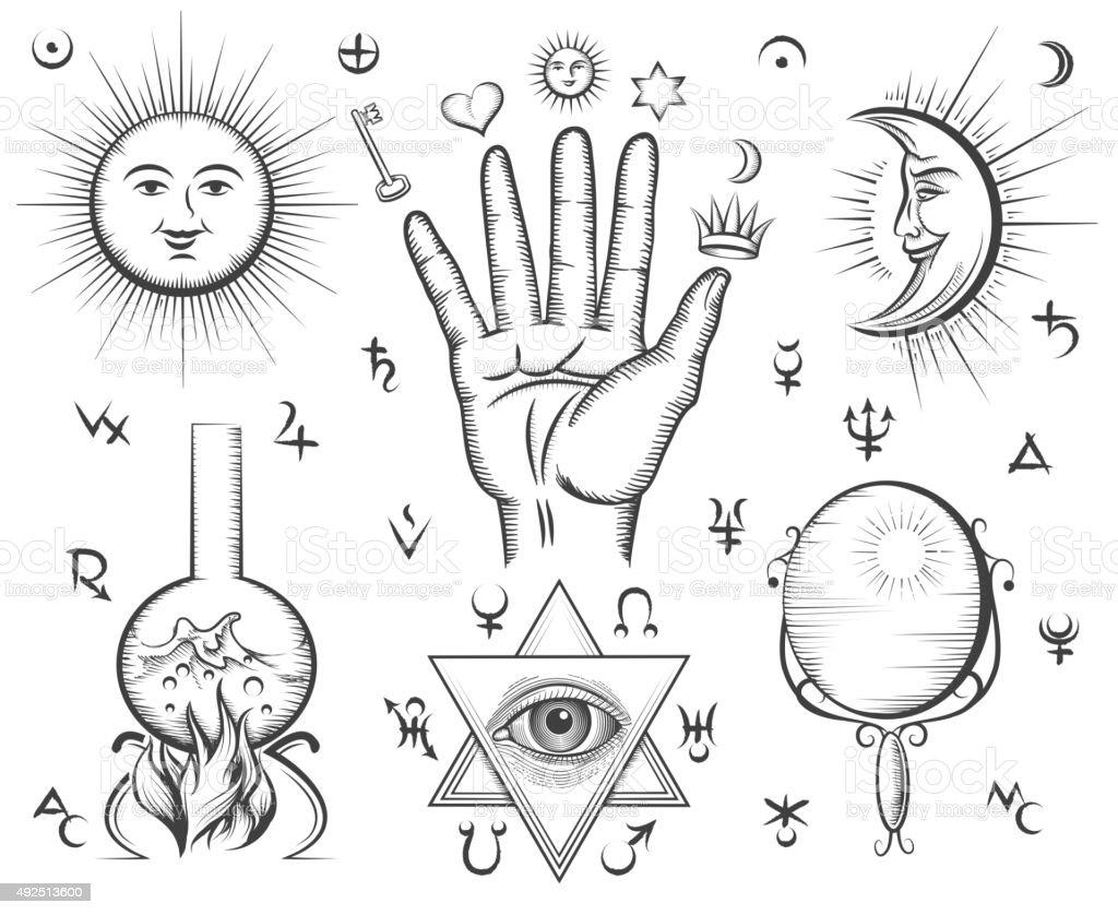 Alchemy y espiritualidad, occultism, bioquímica, magic tattoo vector símbolos - ilustración de arte vectorial