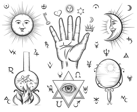 Alchemy Духовности Occultism Биохимический Анализ Крови Magic Тату Векторные Символы — стоковая векторная графика и другие изображения на тему 2015