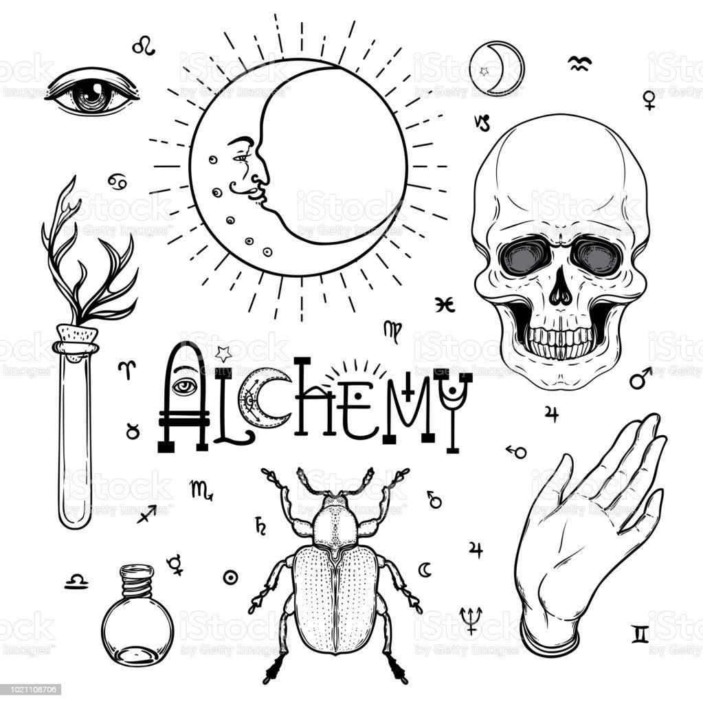 Alchemy Symbol Icon Set Spirituality Occultism Chemistry Magic