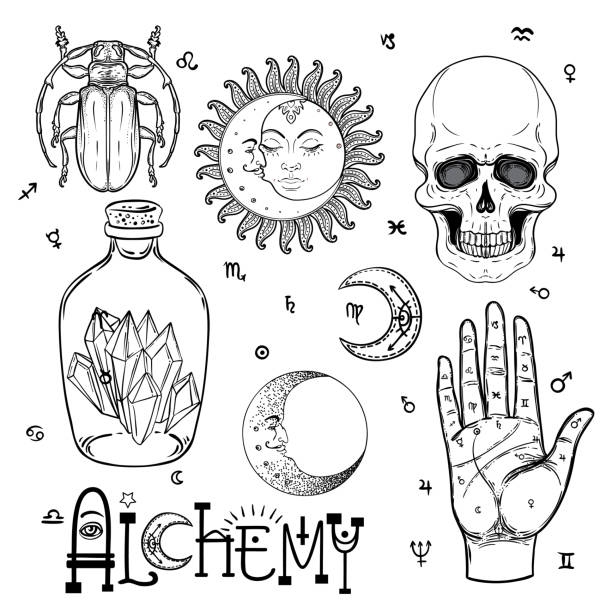 Alchemy symbol icon set. Spirituality, occultism, chemistry, magic tattoo concept. Alchemy symbol icon set. Spirituality, occultism, chemistry, magic tattoo concept. Vintage vector illustration collection with mystic and occult signs. Halloween, astrological elements. potion stock illustrations