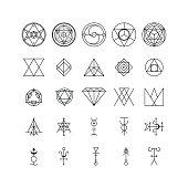 Alchemy Thin Line Icon Set Trendy Geometric Symbol Design Element Art for Web and App. Vector illustration