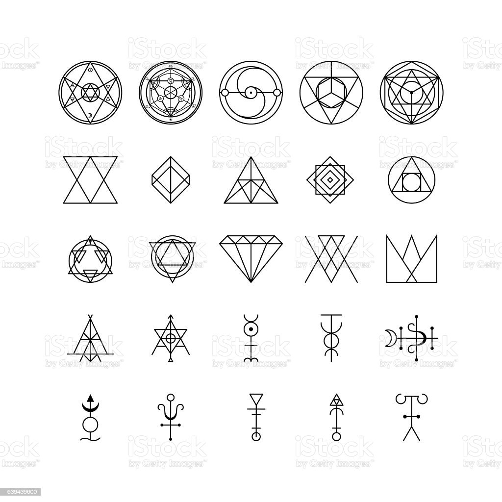 Alchemy Thin Line Icon Set. Vector vector art illustration
