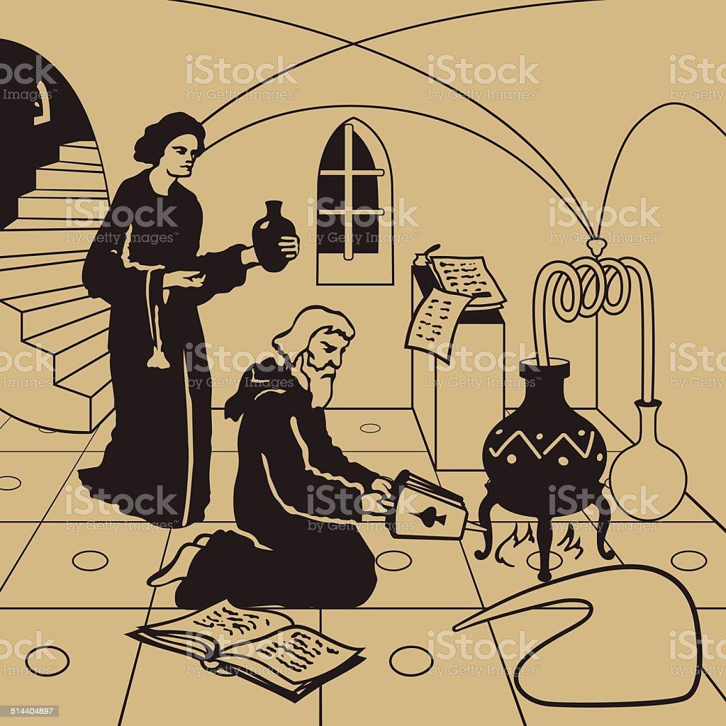 Alchemy vector art illustration