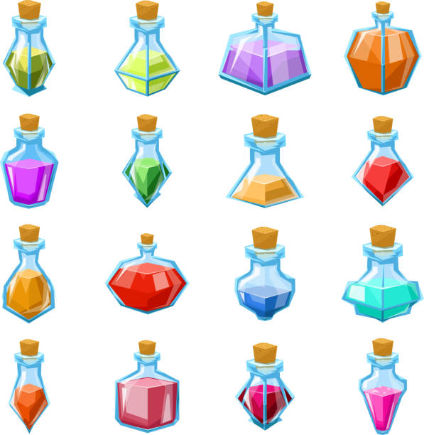 Alchemy witch magic beverage elixir potion poison antidote glass bottle icons set isolated cartoon game design vector illustration Alchemy witch magic beverage elixir potion poison antidote glass bottle icons set isolated cartoon design game vector illustration potion stock illustrations