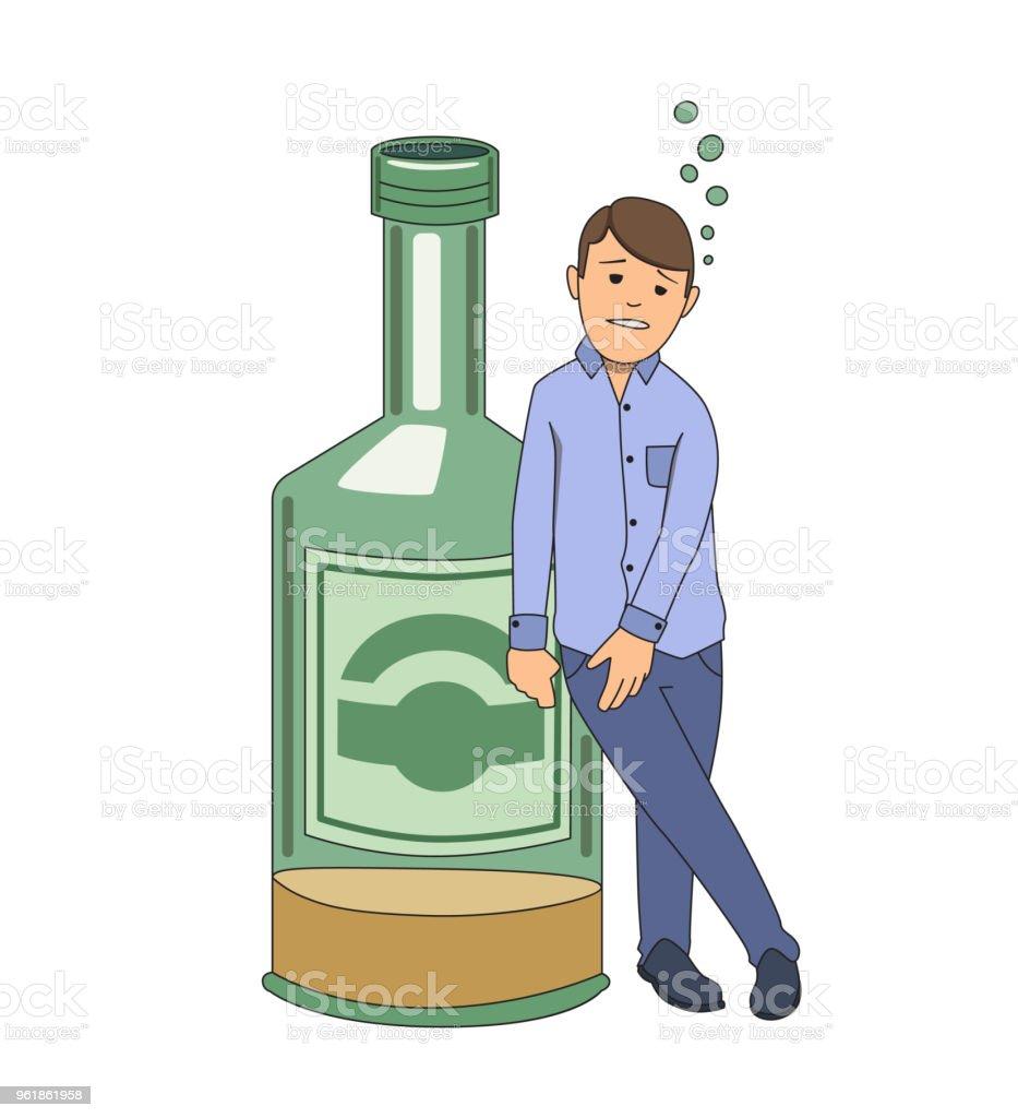Alcohol addiction. Wasted man holding on to big bottle of booze. Vector illustration. Isolated on white background. vector art illustration